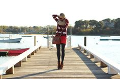 Maroon and Bright Coraly-red? Oh yes, it works. Worn by Blair of Atlantic-Pacific