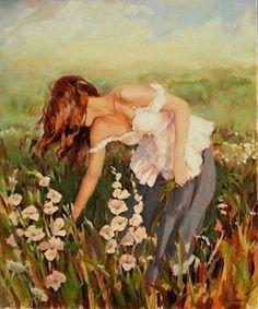 Pintura mulher e flores...