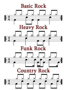 Learn these four basic rock beats — Rockbadger Productions Drum Sheet Music, Drums Sheet, Piano Music, Drum Lessons, Music Lessons, Guitar Lessons, Learn Drums, Learn Guitar Chords, Music Theory Guitar