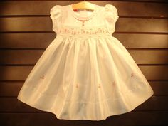 New boutique design hand embroidered smocked Dress - Size 3m 6m 9m 12m 18m 24m 2 White
