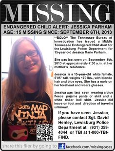 Endangered Child Alert - 9/6/2013: JESSICA PARHAM, 15, Lewisburg, TN.