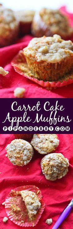 Apple Carrot Cake Muffins | Apples + carrot cake + fall baking = yummiest muffins ever! Great for breakfast or a snack and kids love them.