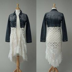 23 Ideas For Diy Clothes Refashion Skirt Lace Diy Clothing, Sewing Clothes, Crochet Clothes, Clothes Refashion, Refashion Dress, Denim And Lace, Diy Fashion, Ideias Fashion, Denim Outfits