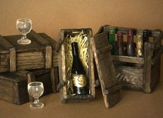 Noble Miniature Box of Wine Bottle for Your Dollhouse by DinkyWorld on Etsy