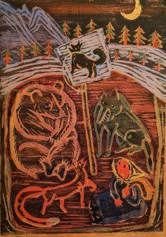 Gøsta Munsterhjelm fargetresnitt - Sjeldent, fra Kunstnerforbundet 1956   FINN.no Hiking Boots, Paintings, Art, Art Background, Paint, Painting Art, Kunst, Performing Arts, Painting