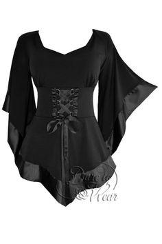 Plus Size Black Gothic Medieval Renaissance Treasure Corset Top 1X 2X 3X 4X 5X #DareToWear #Blouse #EveningOccasion
