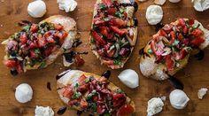 Savory Tomato & Basil Bruschetta. Perfect as a party appetizer! | gourmandelle.com