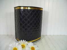Retro Black Patent Leather Upholstered Metal Waste Can - Vintage Detecto Ebony Vanity Bin - Trash Basket to Fit Flat Against a Surface $27.00 by DivineOrders