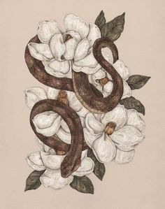 Snake and Magnolias print by Jessica Roux