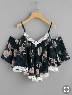 SheIn offers Contrast Crochet Appliques Trim Florals Chiffon Top & more to fit your fashionable needs. Cute Comfy Outfits, Cute Girl Outfits, Cute Summer Outfits, Stylish Outfits, Girls Fashion Clothes, Teen Fashion Outfits, Outfits For Teens, Fashion Dresses, Jugend Mode Outfits