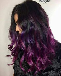 37 Balayage Hairstyles: Inspiration Guide and Trends in 2020 37 Lovely Balayage Hair Inspiration and Guide – Beautified Designs Balayage Hair Purple, Hair Color Purple, Cool Hair Color, Dark Balayage, Balayage Color, Purple Dip Dye, Purple Hair Highlights, Black To Purple Ombre, Dark Hair With Purple