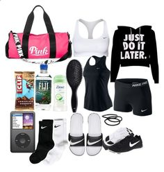 what's in my volleyball bag #3 by kitty-ma ❤ liked on Polyvore featuring NIKE, Victoria's Secret PINK, H&M and Goody