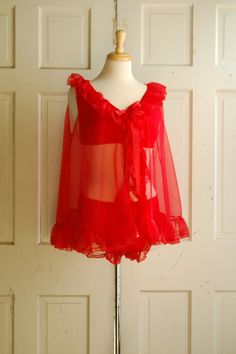 50s Red Lace Babydoll  50\u2019s Vintage Lingerie  50\u2019s Nightgown  1950s Black Pinup Pyjamas  1950\u2019s Erica Loren  Unique Gift Ideas for Her