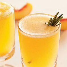 Sparkling Rosemary-Peach Cocktails: 3/4 cup water 1/2 cup sugar $ 1 (3-inch) rosemary sprig 2 ripe peeled peaches, cut into 1-inch pieces $ 1 (750-milliliter) bottle Champagne or sparkling wine, chilled