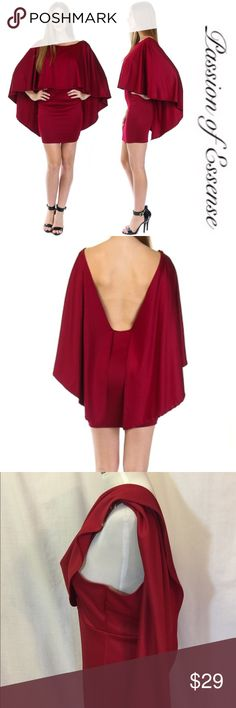 Solid Poncho Mini Dress Going out for the night? Get this Cascading Ruffle with Batwing sleeves come above the knees with a opening to the waistline in the back material Spandex and Polyester Made in USA the color is wine. Passion of Essense Dresses Mini