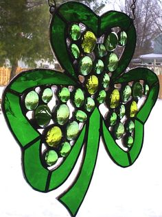 Festive Green Shamrock Stained Glass by CLStainedGlassStudio, $45.00