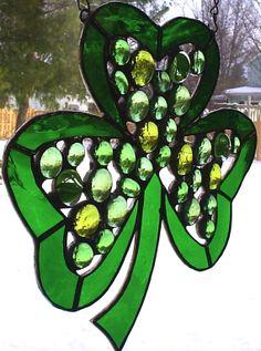 Festive Green Shamrock Stained Glass Suncatcher  $45.00