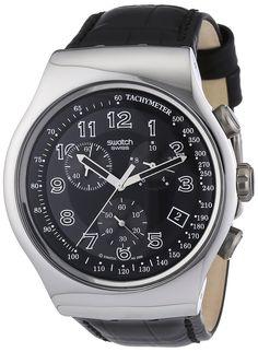 Swatch Men's Irony YOS440 Black Leather Quartz Watch with Black Dial