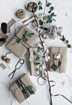 Organic greens for minimalist christmas wrapping
