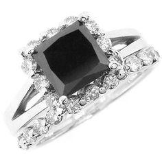 3.33 Carat Princess Fancy Black Diamond Halo Matching Engagement Ring & Wedding Band Set Solid 14k White Yellow Pink Rose Gold Split Shank on Etsy, $2,160.00