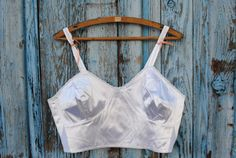115  Vintage French ivory satin bra  frilled by AuvergneMemories, $30.00