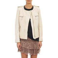 Isabel Marant Étoile Kady Washed Leather Moto Jacket at Barneys.com
