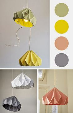 origami lampshade and a beautiful colour palette Diy Origami, Origami Lampshade, Paper Lampshade, Origami And Kirigami, Origami Paper Art, Origami Folding, Paper Folding, Lampshades, Diy Paper