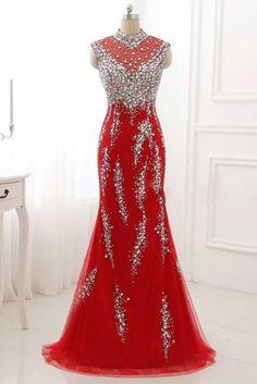 Luxury red organza beading rhinestone mermaid long dress caed1f437306