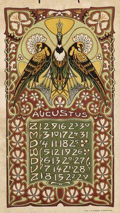 Jugendstil calendar (August), by Leo Visser, 1903 | Art Nouveau