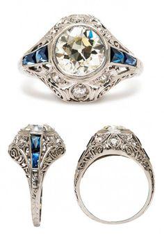 Something Blue Beautiful Sapphire and Diamond Engagement Ring #wedding #bride #engagement #fashion #jewelry #ring #blue
