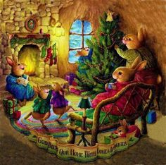 Hilde Van der Auwera uploaded this image to 'Kerstafbeeldingen/Christmas Art/Susan Wheeler'. See the album on Photobucket. Christmas Scenes, Christmas Pictures, Christmas Art, Christmas Graphics, Family Christmas, Susan Wheeler, Christmas Illustration, Cute Illustration, Illustration Animals