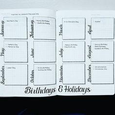 This is Jane Wayne - Slow Sunday - Bullet Journaling - bujo - Bullet Journal Spreads, Bullet Journal Junkies, Bullet Journal Inspo, Bullet Journal Layout, Bullet Journals, Bujo, Future Log Bullet Journal, Journal Printables, Birthday Bullet Journal
