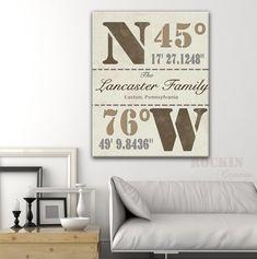 House warming Gift, Family Latitude Longitude, Coordinates, GPS Coordinates Sign, Personalized Latitude and Longitude, Location Sign