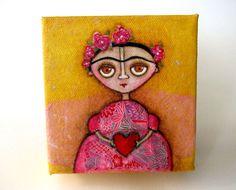 Frida  pink and yellow original folk art mixed media by yoborobo