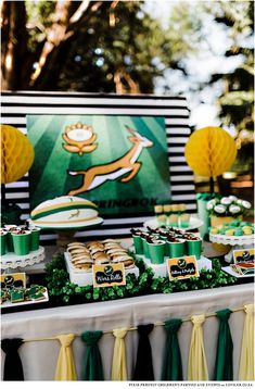 Go Bokke! A Springbok party Birthday Party Tables, 7th Birthday, Birthday Cake, Go Bokke, South African Flag, Car Themed Parties, Party Co, African Theme, Party Themes