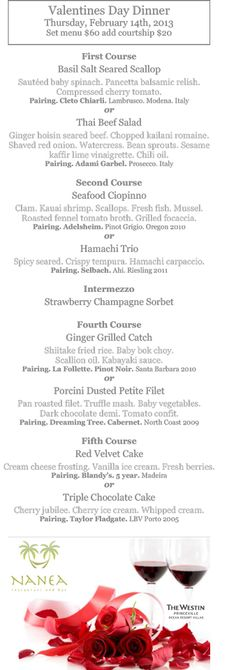 Here's the menu for the five-course dinner at Nanea this Valentine's Day. #KauaiFood