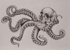 Unique black-and-white octopus skull tattoo design, Owl Skull Tattoos, Octopus Tattoo Sleeve, Indian Skull Tattoos, Small Skull Tattoo, Evil Skull Tattoo, Skull Girl Tattoo, Octopus Tattoos, Skull Tattoo Design, Tattoo Sleeve Designs