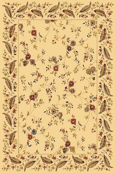 Dynamic Rugs Yazd Beige-Beige Floral Rectangle Area Rug