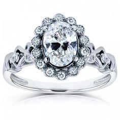 Shop for Annello by Kobelli White Gold TDW Oval Diamond Antique Engagement Ring. Get free delivery On EVERYTHING* Overstock - Your Online Jewelry Destination! Antique Style Engagement Rings, Antique Wedding Rings, Gemstone Engagement Rings, Gemstone Rings, Vintage Rings, Halo Engagement, Vintage Style, Antique Diamond Rings, Oval Diamond
