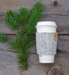 Coffee Sleeve, Coffee Cozy, Knit Coffee Sleeve, Coffee Sleeve with Buttons, Grey and White Marled, Travel Mug Cozy, Cup Cozy, Cup Sleeve by beatknits on Etsy