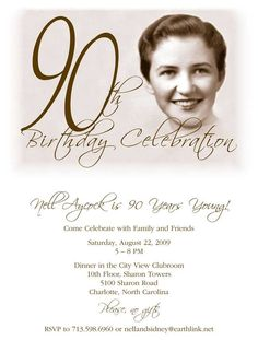 Get FREE Template Free Printable 90th Birthday Invitations