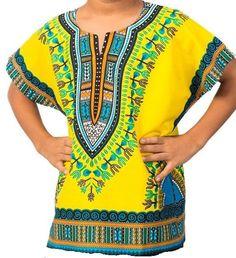 African Boys Dashiki Shirt Kids Mexican Poncho Top Hippie Girls Blouse Yellow M #Handmade #Hawaiian #Everyday