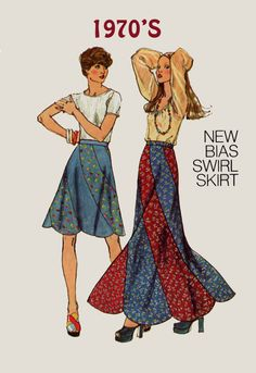 Vintage 1970s Retrp Bias Swirl Skirt in Maxi & Midi Lengths Sewing Pattern Simplicity 6261 70s era Pattern Size 12 Hip 36 UNCUT by sandritocat on Etsy