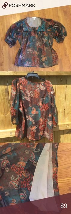 PlusSize 1X Dress Barn Blouse Cleaning out my closet! This light-weight brown floral pattern blouse from Dress Barn features embroidered neckline and is fully lined. Very comfortable blouse that looks great with brown dress pants or jeans. Dress Barn Tops Blouses