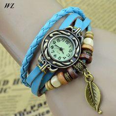 10pcs/lot Wholesales Hot Sales Fashion 9colors Ladies Hand Knit Retro Women's Pu Leather Bracelet Watches #Affiliate