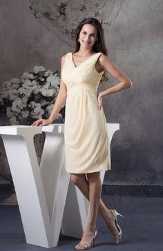 Plain V-neck Zip up Chiffon Ruching Cocktail Dress