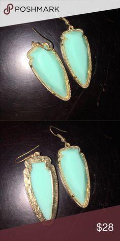 """Kendra """"Style"""" Similar to Sky Turquoise Earrings Cute Light Turquoise beveled arrow head earrings Jewelry Earrings"""