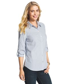 Striped Roll-Sleeve Shirt