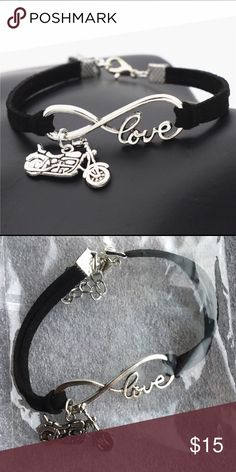 Black Infinity Love Motorcycle Bike Charm Bracelet Black Infinity Love Motorcycle Bike Charm Bracelet. 🔹Materials: Faux Leather wrap and Alloy🔹           🔹Size: 7 inches length with 2 inches extended chain🔹                                                                                                   🌟Brand New🌟 Jewelry Bracelets