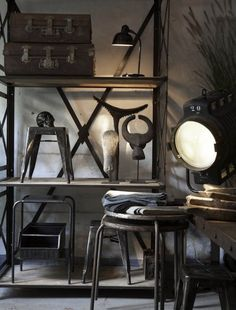 Pin by simon saleh on best of industrial chic идеи для дома, мебель, дом. Industrial Living, Industrial Interiors, Rustic Industrial, Industrial Furniture, Industrial Shelves, Retro Furniture, Style Loft, Living At Home, Living Room